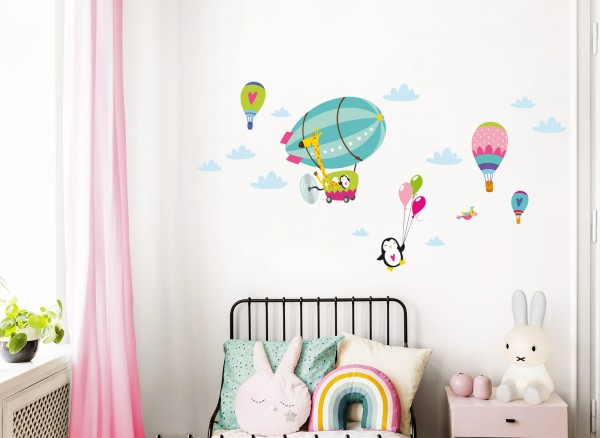 Little Deco Wandtattoo Giraffe im Zeppelin Pinguin mit Luftballons Türkis Rosa Grün DL366