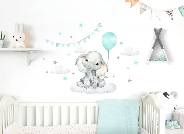 Little Deco Wandtattoo Elefant mit Luftballon mint & Sterne DL683