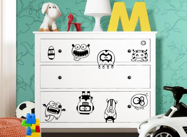 Wandtattoo Monster passend für IKEA HEMNES Kommode W5227