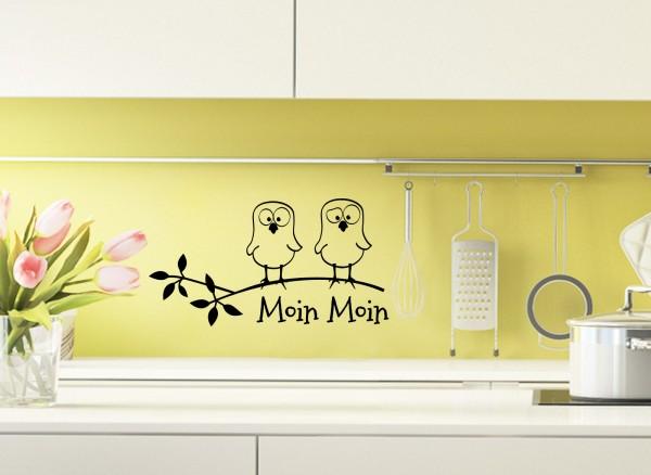 Wandtattoo Moin Moin + Vögel W5023