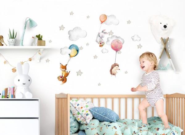 Little Deco Wandtattoo Fuchs Hase Igel mit Ballons DL656