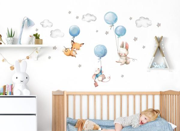 Little Deco Wandtattoo Fuchs Maus und Hase mit Luftballon DL611