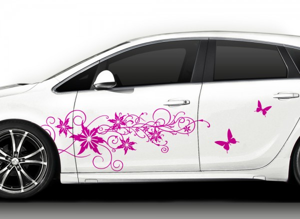 2er Set Autoaufkleber XL Blumenranke Schmetterlinge X7141