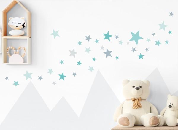 Little Deco Wandtattoo 60 Sterne türkis mint grau DL399