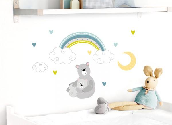 Little Deco Wandtattoo Bären mit Mond & Regenbogen DL497