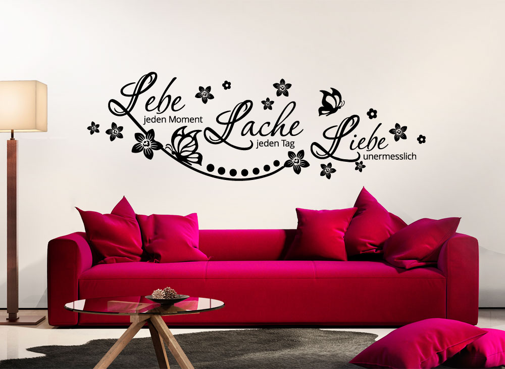 wandtattoo zitat lebe lache liebe schmetterlinge blumen w870 spr che zitate. Black Bedroom Furniture Sets. Home Design Ideas