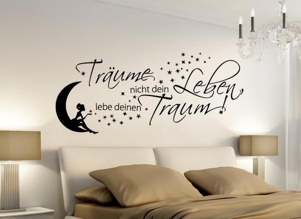 """Wandtattoo Zitat """"Träume nicht dein Leben,.."""" mit Mond & Fee W5006"""