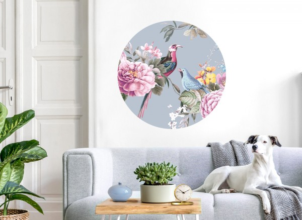 Wandaro runder Wandaufkleber blau mit Vögel & Blumen DL576
