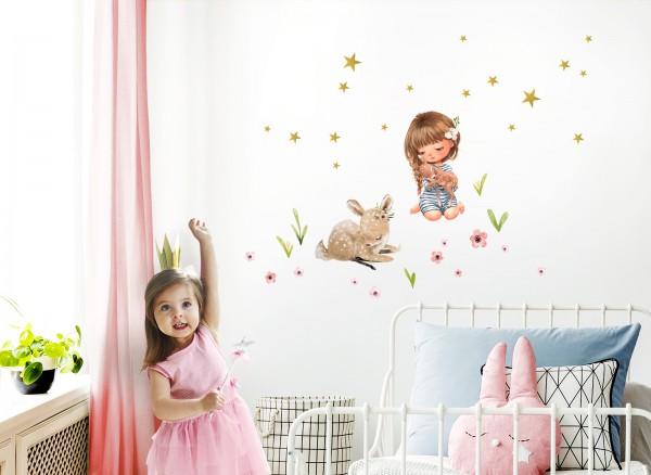 Little Deco Wandtattoo Mädchen mit Rehkids & Reh DL438