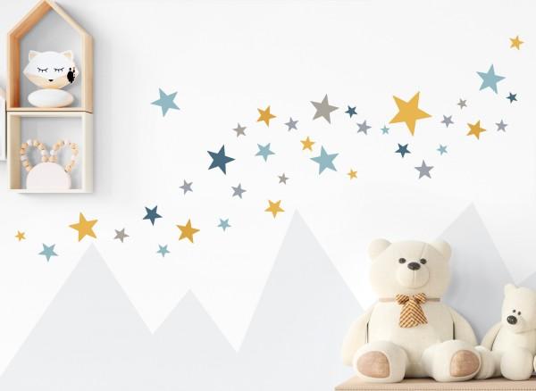 Little Deco Wandtattoo 60 Sterne gelb grau blau DL402