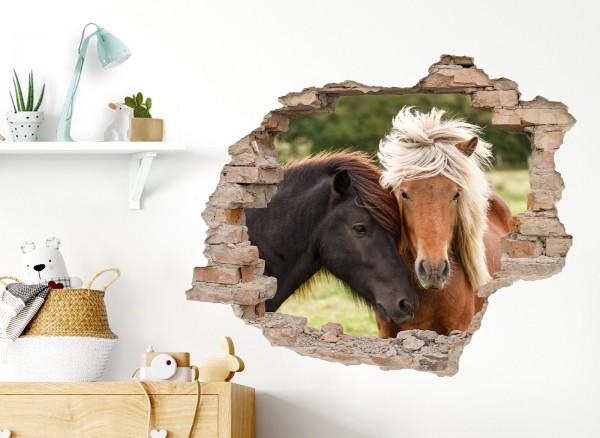 Little Deco Wandtattoo 3D Effekt Loch in der Wand mit Pferden DL632
