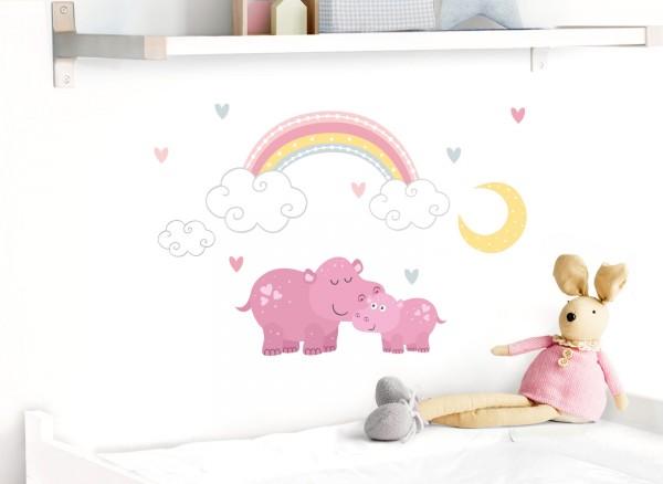 Little Deco Wandtattoo Flusspferd mit Mond & Regenbogen DL494