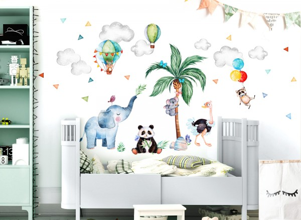 Little Deco Wandtattoo Safari Tiere Coala Panda Elefant DL641