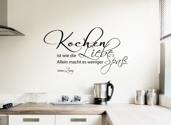 wandtattoo zitat kochen ist wie liebe w767 spr che. Black Bedroom Furniture Sets. Home Design Ideas