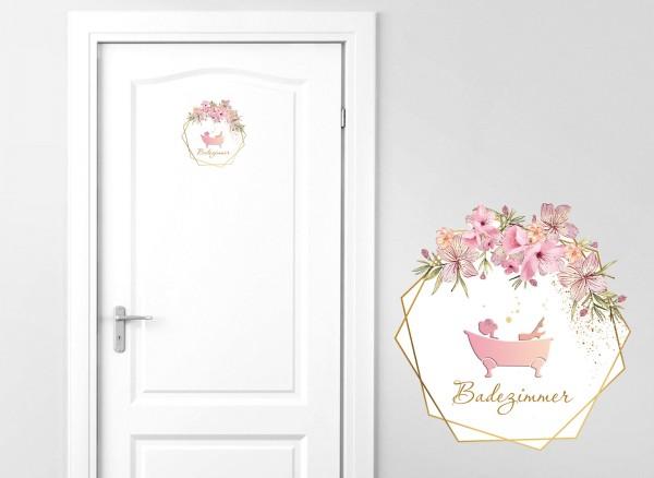 Grandora Türaufkleber Badezimmer mit Blumenranke DL440