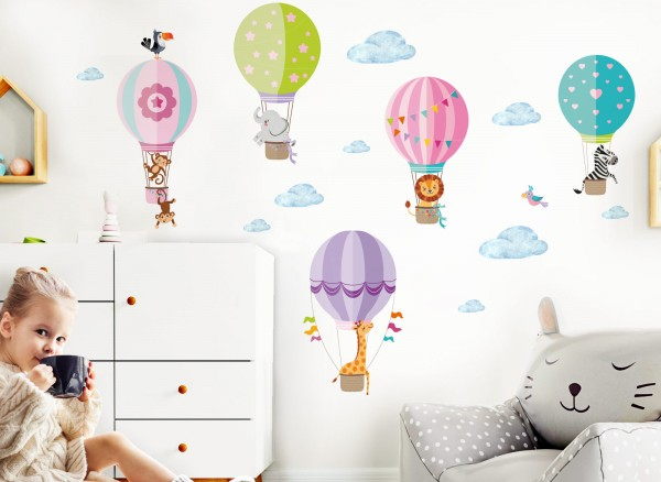 Little Deco Wandtattoo Zoo Tiere im Heißluftballon DL210