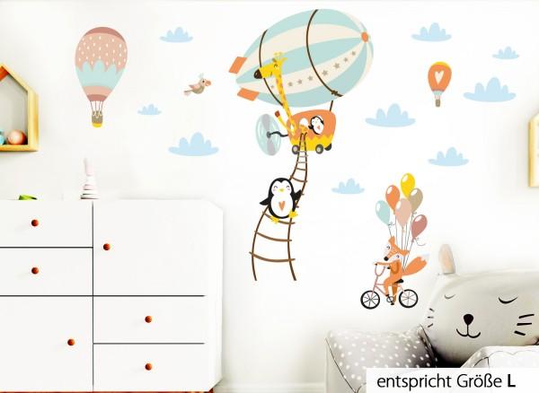 Little Deco Wandtattoo Tiere im Zeppelin Fuchs auf Fahrrad Pastellblau Gelb Orange DL224