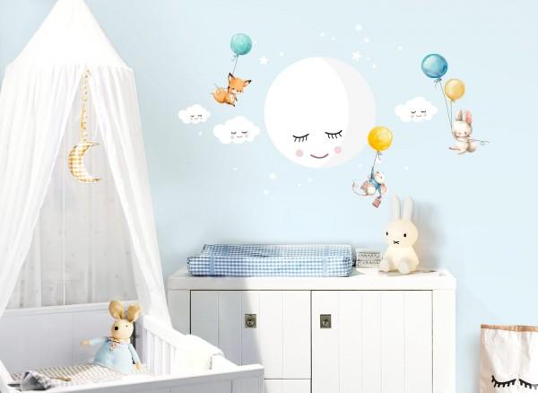Little Deco Wandtattoo Mond Wolken Tiere Ballon gelb blau DL432