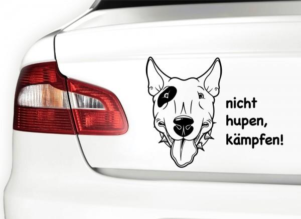 Autoaufkleber Nicht hupen, kämpfen! Hund Bullterrier X7072