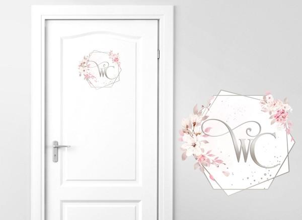 Grandora Türaufkleber WC mit Blumenranke DL733