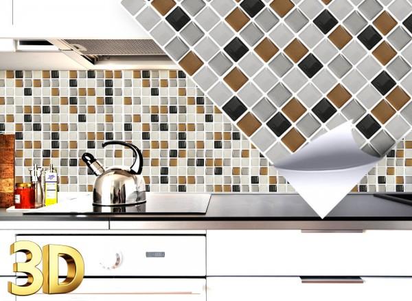 4x 3D Fliesenaufkleber 25,3 x 25,3 cm W5286 kupfer dunkelgrau silber Mosaik