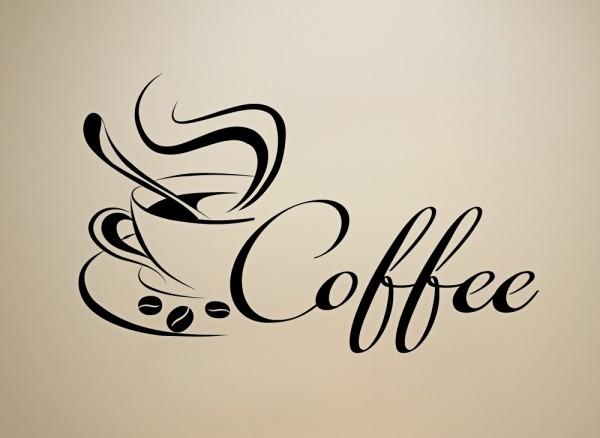 Wandtattoo Coffee Kaffeetasse Bohnen W3039