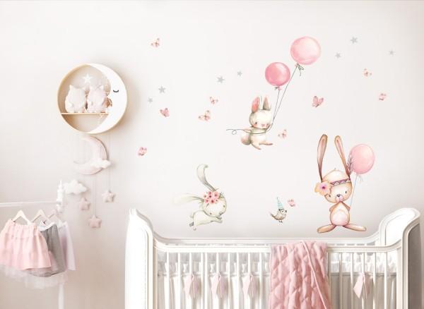 Little Deco Wandtattoo Hasen mit Luftballons DL726
