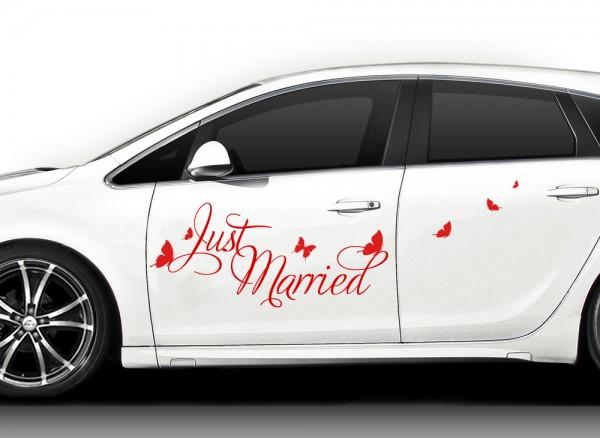 Autoaufkleber Just married + Schmetterlinge X7124