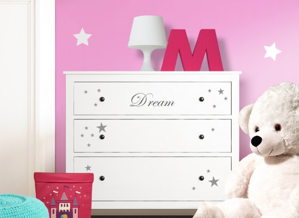 wandtattoo dream sterne passend f r ikea hemnes kommode w5222 m belaufkleber kinderzimmer. Black Bedroom Furniture Sets. Home Design Ideas
