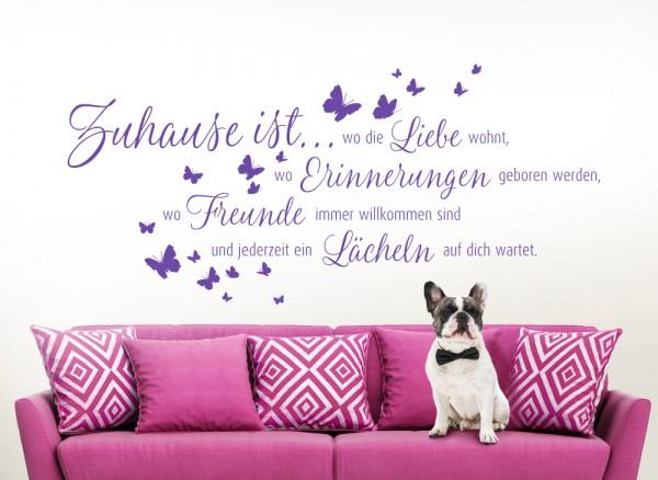 Wandtattoo Zitat Zuhause ist... + Schmetterlinge W5093
