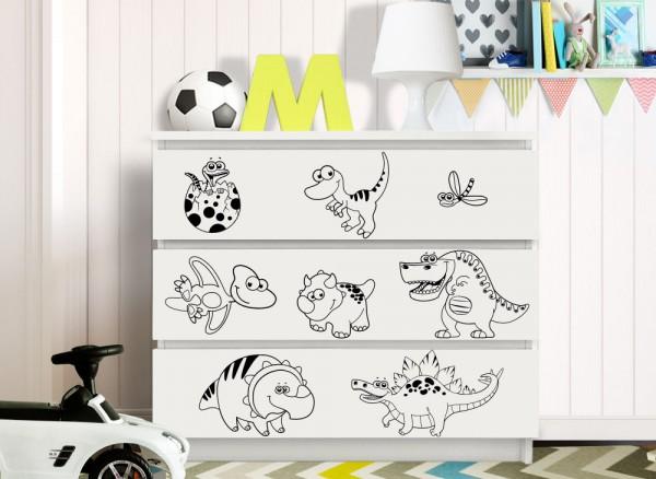 Wandtattoo niedliche Dinosaurier passend für IKEA HEMNES und MALM Kommode W5245
