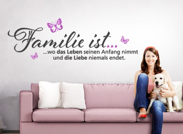 wandtattoo 2 farbig spruch familie ist wo das leben. Black Bedroom Furniture Sets. Home Design Ideas