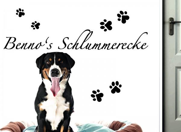 Wandtattoo Schlummerecke + Wunschname für Haustiere W5163