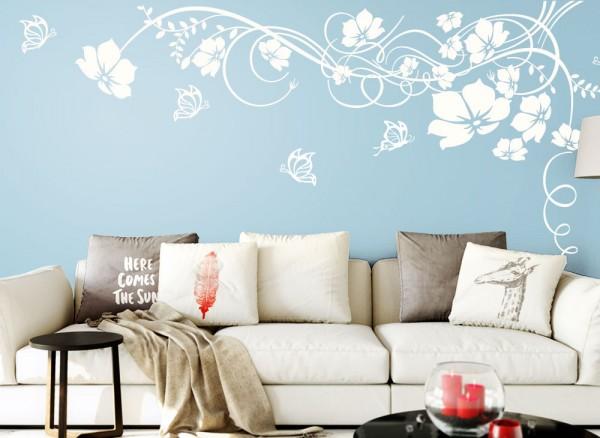 Wandtattoo Blumenranke mit Schmetterlingen W829