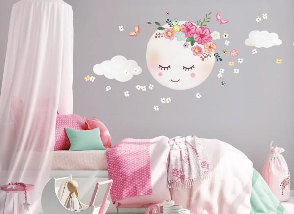Little Deco Wandtattoo Mond & Wolken Weiß / Rosa DL270