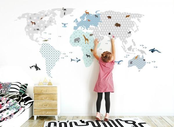 Wandtattoo Weltkarte mit Tieren grau blau DL127 | Mädchen ...
