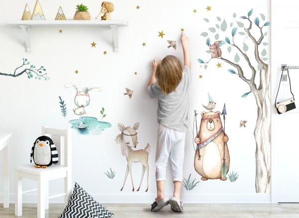 Little Deco Wandtattoo Waldtiere Pfeil Bogen & Baum DL505