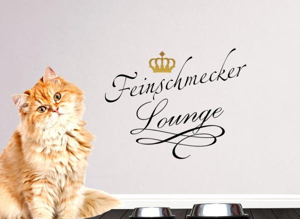 Wandtattoo Feinschmecker Lounge mit goldener Krone für Haustiere W5208