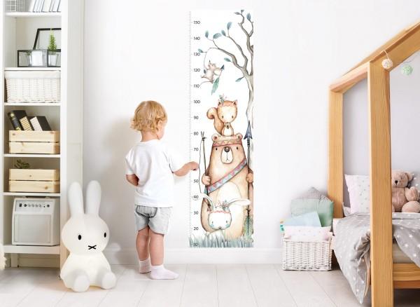 Little Deco Wandtattoo Messlatte 150cm Bär Hase Eichhörnchen DL457