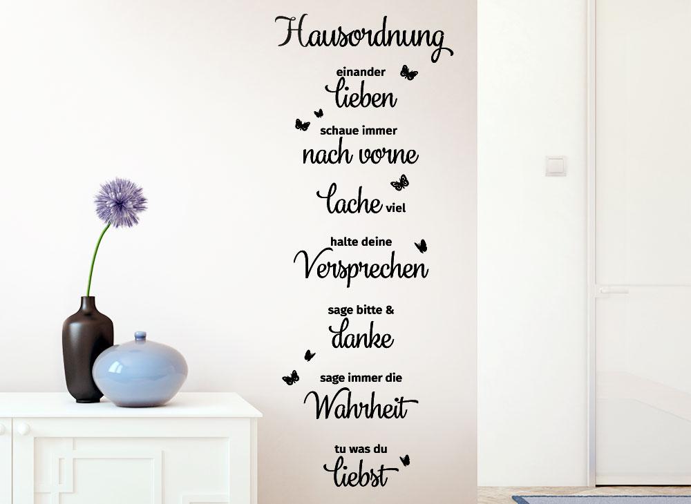 Wandtattoo hausordnung lachen liebe danke g169 spr che for Minimalistisch leben mit familie