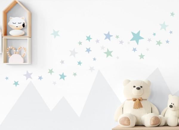 Little Deco Wandtattoo 60 Sterne mint blau hellgrau DL400