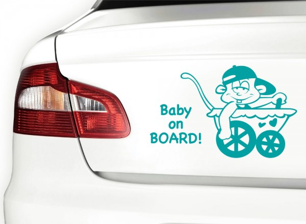 Autoaufkleber Baby on Board + Kinderwagen X7093