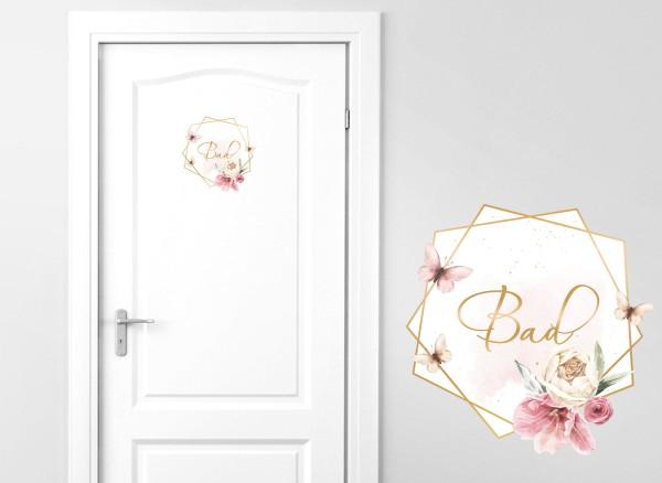 Grandora Türaufkleber Bad mit Blume und Schmetterling DL730
