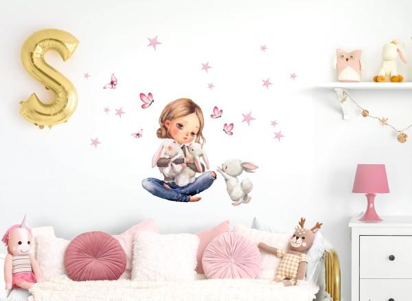 Little Deco Wandtattoo Mädchen mit Hasen & Schmetterlinge DL688
