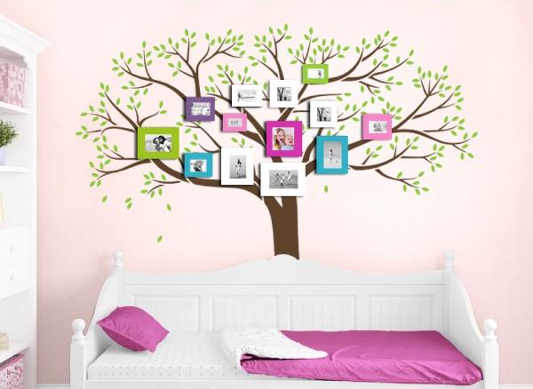 Wandtattoo 2-farbiger Baum mit Ästen und Blättern W5142
