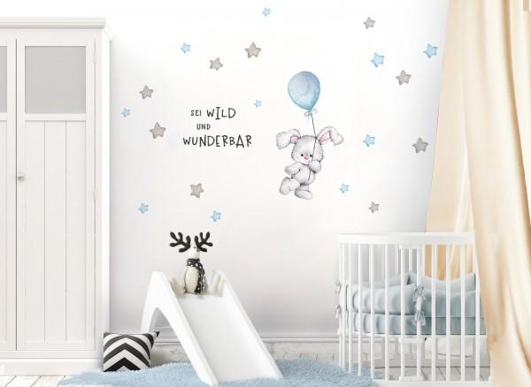 Little Deco Wandtattoo Sei wild & Hase mit Luftballon DL328