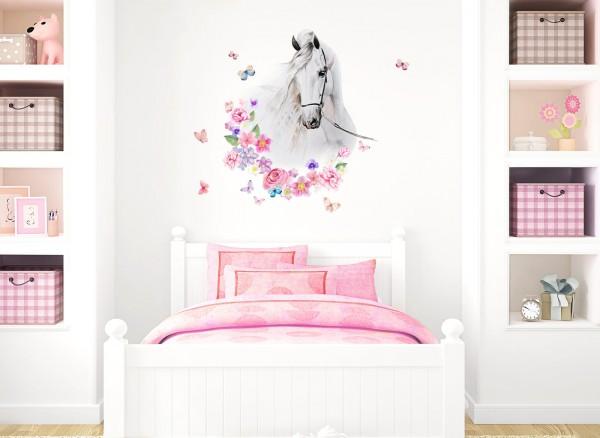 Little Deco Wandtattoo Pferdekopf mit Blumen & Schmetterlingen DL464