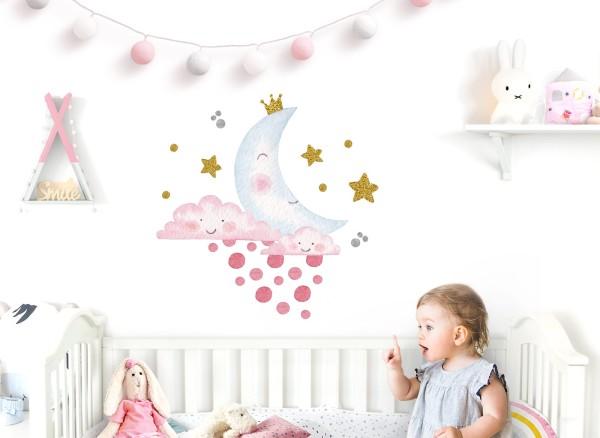 Little Deco Wandtattoo Wolken Mond und Sterne DL615