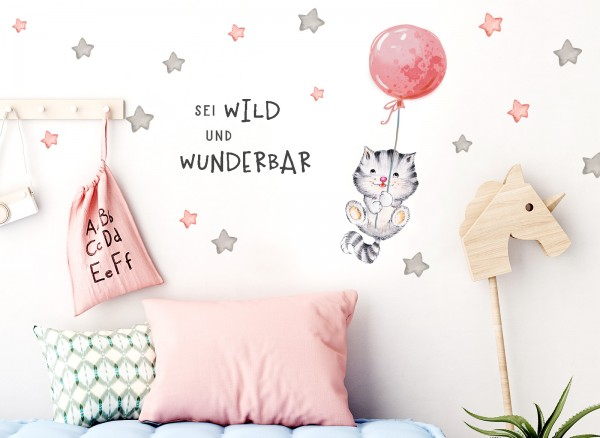 Little Deco Wandtattoo Sei wild & Katze mit Luftballon DL322