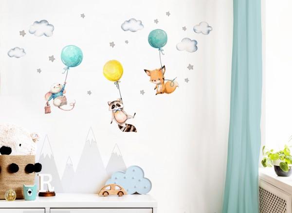 Little Deco Wandtattoo Fuchs Maus und Waschbär mit Luftballon DL508